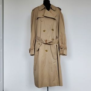 Vintage Mens Burberry Wool Lined Trench Coat 46